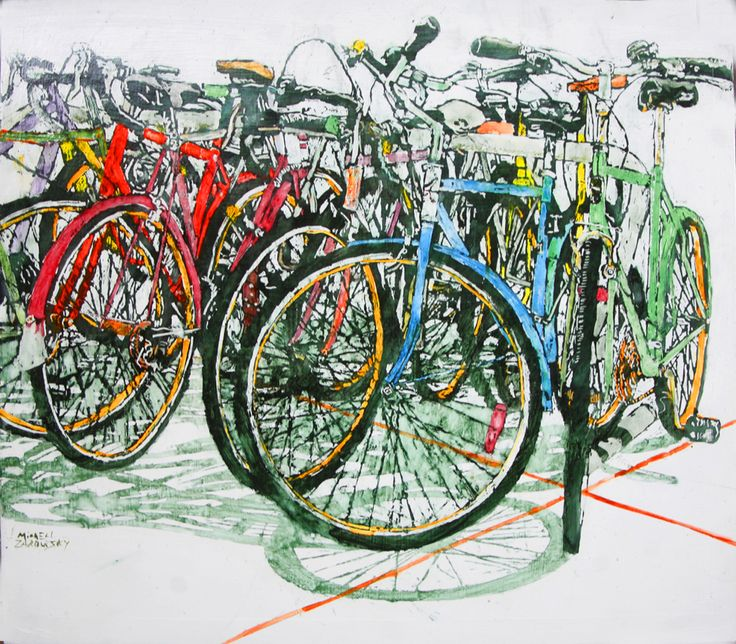 "lido bikes (130)  22 1/4"" x 25"" x 1 3/4""  micheal zarowsky / Mixed media (watercolour / acrylic painted directly on gessoed birch panel) Available $950.00"