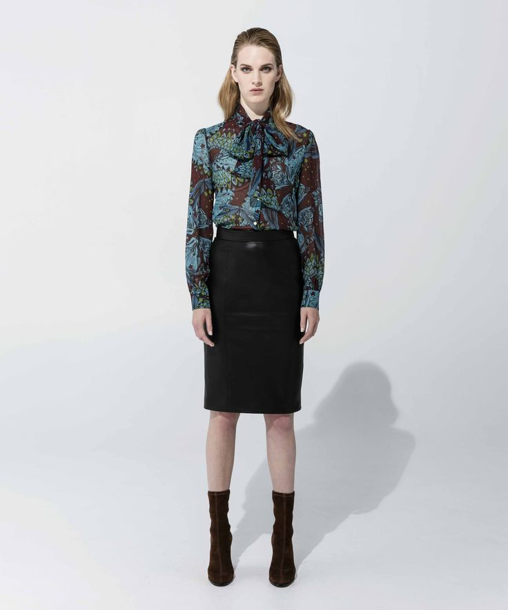 Pussybow Blouse - Turquoise, Leatherette Skirt - Black