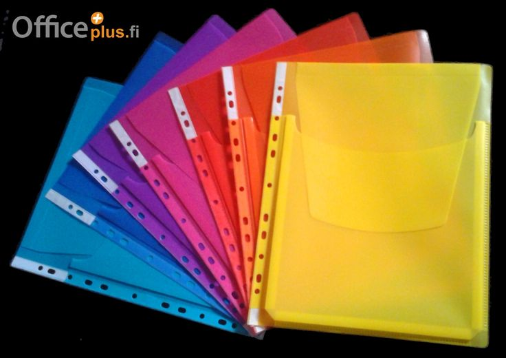 Värikkäitä paljetaskuja toimiston piristykseksi! Jopa 200:lle arkille! Brighten up your office with these colourful expanding pockets with protective flap! Designed to hold up to 200 pages! www.officeplus.fi