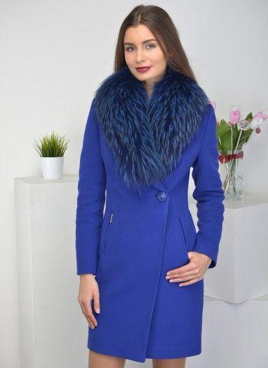 Женское полупальто Пальто с запахом 01, idekka цвет Васильковый тёмный за 11900 руб.