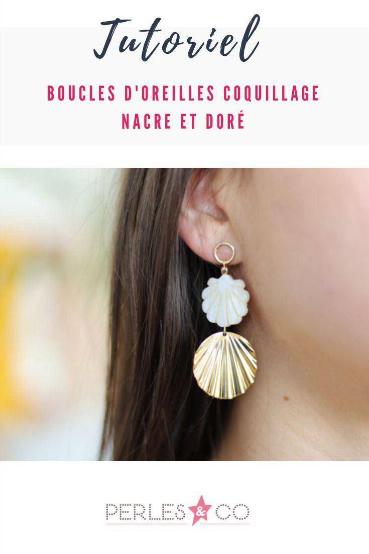 pas cher la clientèle d'abord style populaire Boucles d'Oreilles Coquillage Nacre et Doré | DIY | Bijoux ...