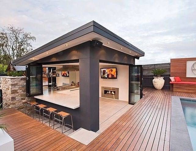 Pin By Thom Wendell On Design Art Modern Outdoor Kitchen Backyard Outdoor Rooms