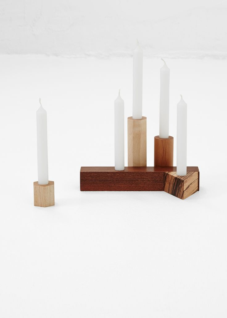 Fort Makers Geometry Candle Stick Set III (Multi Wood )