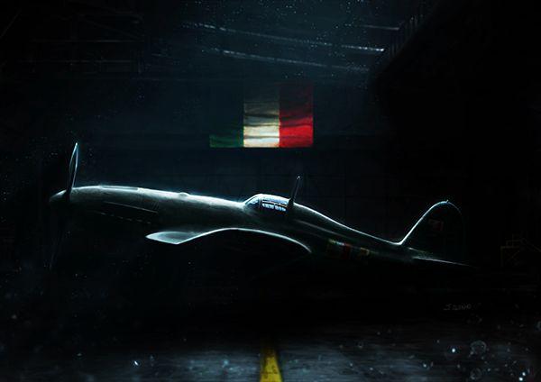 Fiat G.55 Centauro in the hangar. Artwork by Jacopo Alfano.