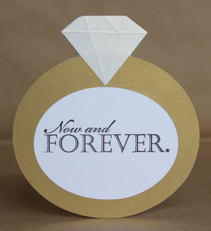 Big Ring Engagement Card, Handmade Greeting Card, Now and Forever