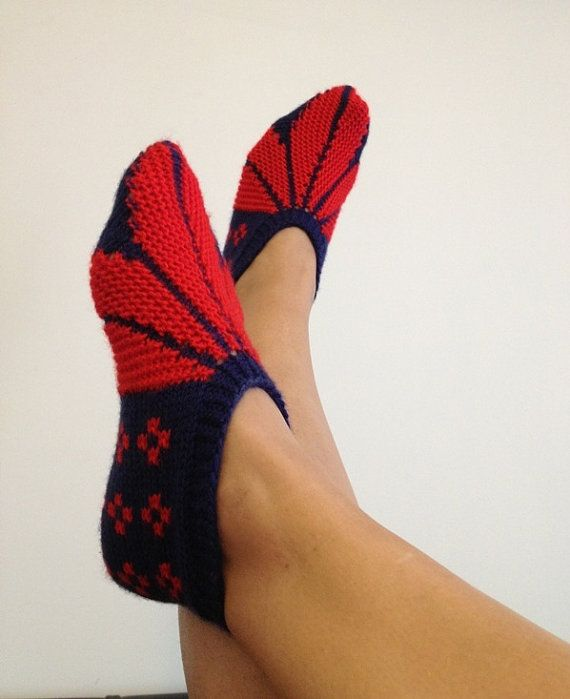 Red and blue  Otantic slippers special knitting by NesrinArt, $24.00: