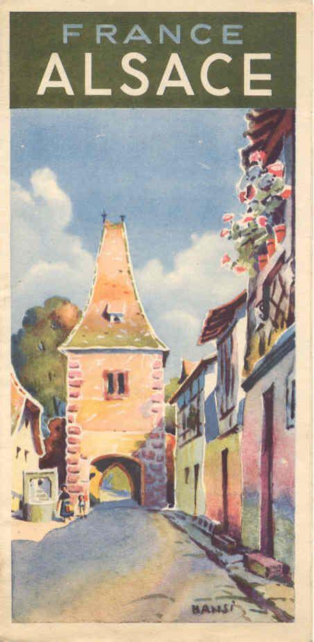 Vintage Travel Poster - Alsace - France - by Hansi.