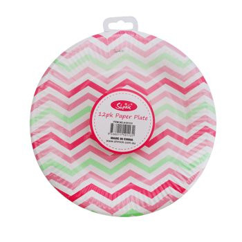 PINK CHEVRON Shmick Plates 23cm 12 pack for $6.90