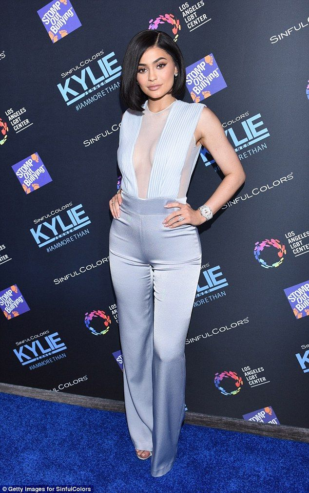 Sensational in silk: Kylie was also seen attending an anti-bullying event in Los Angeles o...