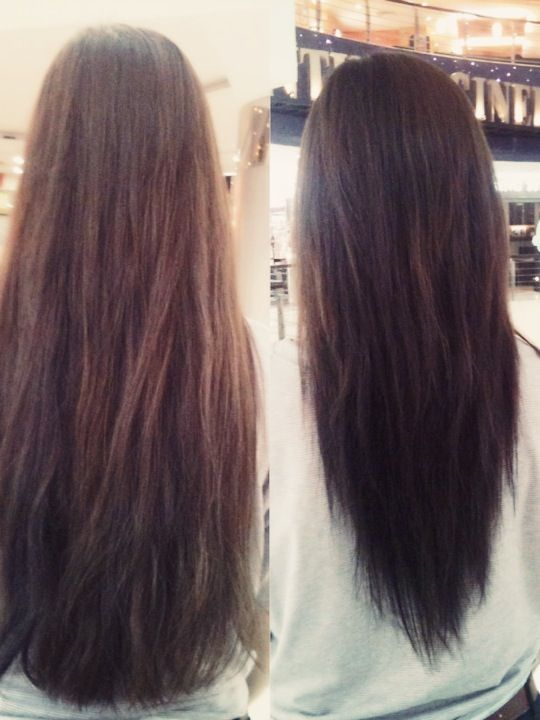 Long v-shape cut before and after
