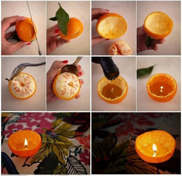 Las velas naranjas atraen la energía de la inteligencia...supongo que estas velitas hechas de naranjas pueden ser todavía más efectivas...y fragantes! Una decoración preciosa e inteligente para tu celebración de año nuevo! :)