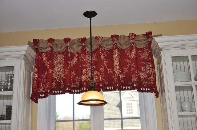 Genius!!!  I'll be doing this in my kitchen!!!Totally doable burlap strip between tabs on valance