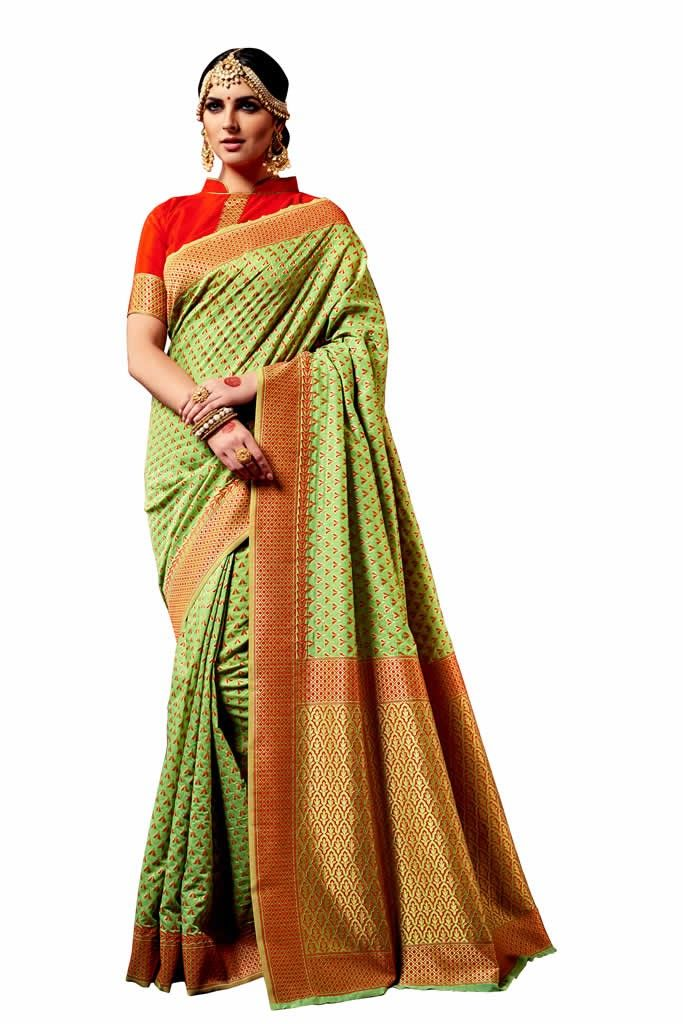 buy saree online Green Colour Top dyed weaving Printed Causal Wear Saree Buy Saree online - Buy Sarees online