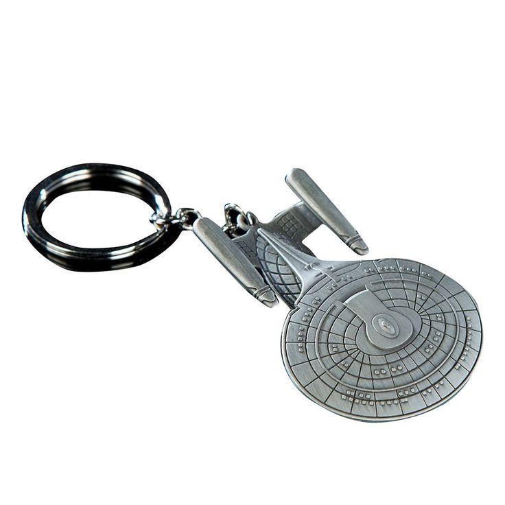 Quantum Mechanix Star Trek USS Enterprise NCC-1701-D Key Chain, Kids Unisex, Multicolor