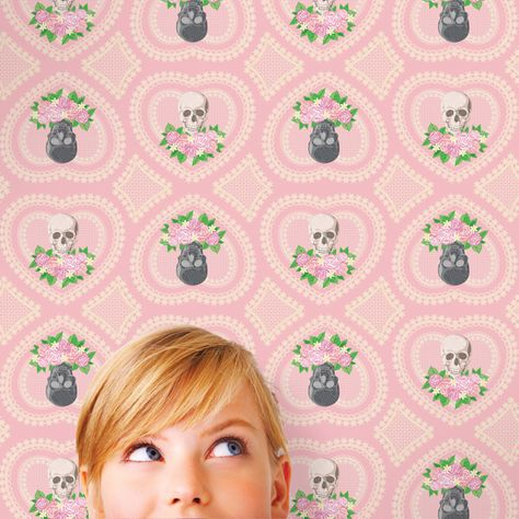 WallCandy Arts Hearts Skulls Self-Adhesive Wallpaper - If only everything  in life were removable and re-stickable, right? At least this awesome  wallpaper ... - 123 Best Removable WallPaper Images On Pinterest Kids Wallpaper