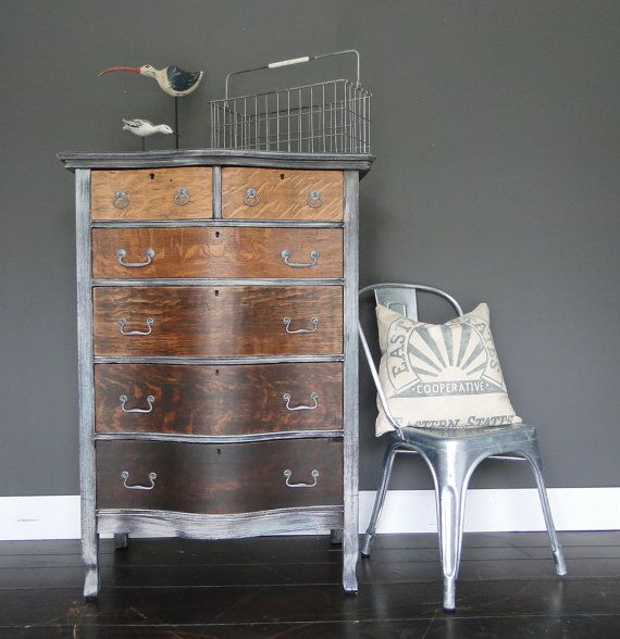 """Antique painted and stained chest of drawers, dresser, driftwood gray grey ombre stain """"Industrial Driftwood"""" Modern Vintageby TRWpainted"""