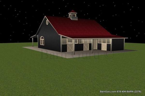 3 Stall Horse Barn Plan Farm Barn Pinterest