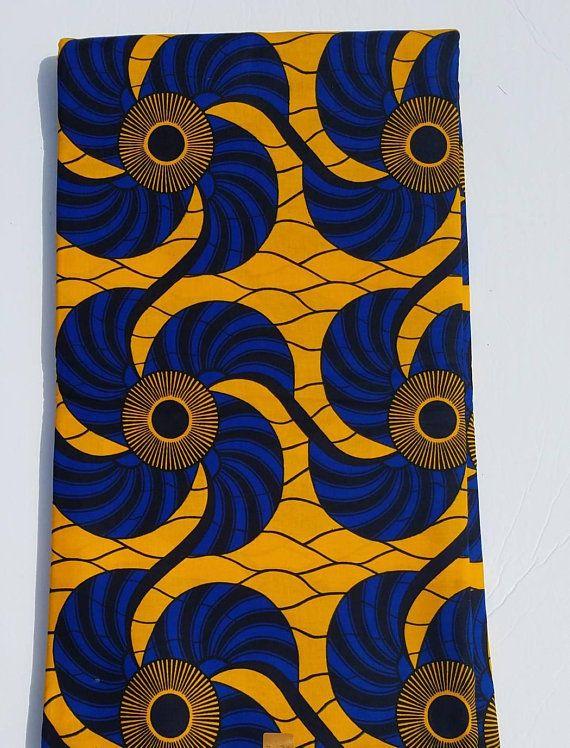 Gelb Und Blau Ankara Stoff Afrikanische Kleidung African Pattern