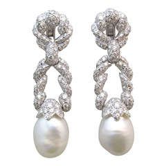 Impressive Diamond & Pearl Earrings