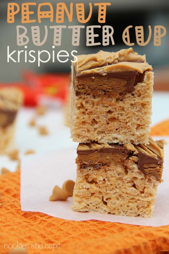 Oh yes - this is going to happen in my kitchen!: Reese Cups, Fun Recipe, Schools Snacks, Ree Cups, Cups Krispie, Peanut Butter Cups, Cups Rice, Rice Krispie Treats, Rice Crispy Treats