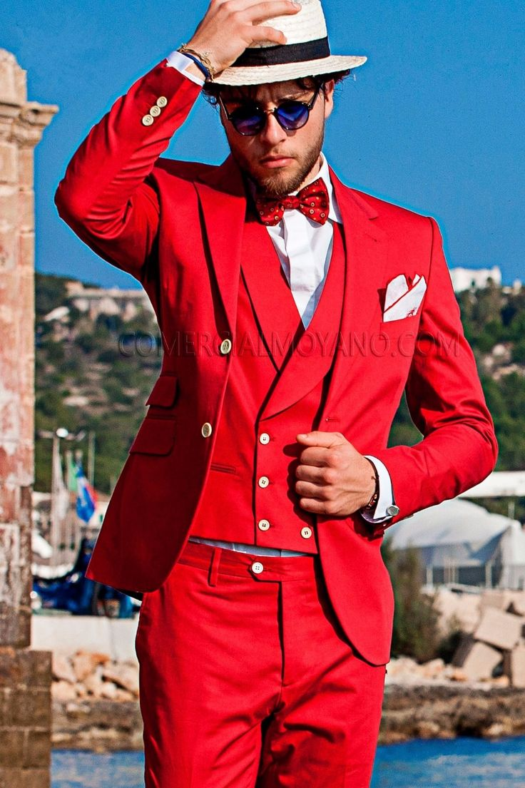 Latest Coat Pant Designs Red Double Breasted Italian Beach Custom Wedding Suits For Men Groom Slim Fit 3 Pieces Masculino N6