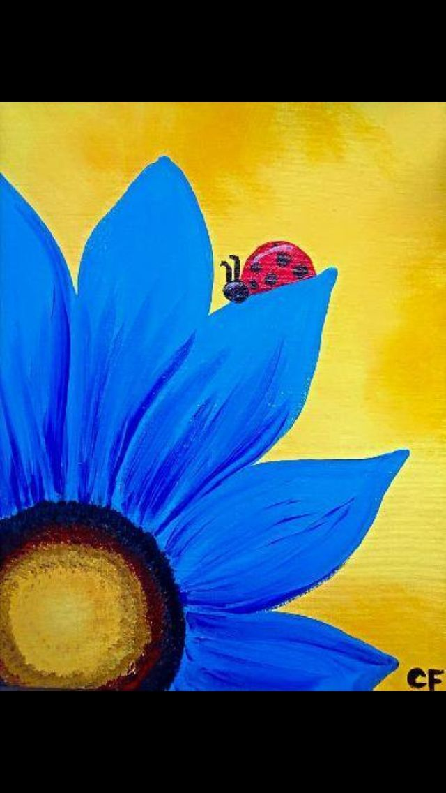 The Red Lady Bug Is The Focal Point In This Picture The Yellows Blues And Blacks Make The Red Stand Out Soyut Resim Tuval Resimleri Tuval Sanati
