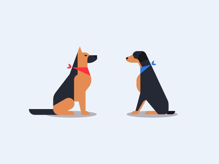 Dogs by Sascha Elmers #icon #icondesign #iconic #minmal #geometric #pet #dog #shepherd #doberman