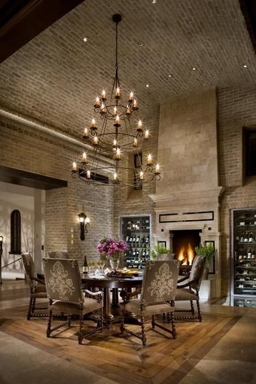 heres another viewvaulted and stone ceiling with recessed lighting dining room - Dining Room Recessed Lighting