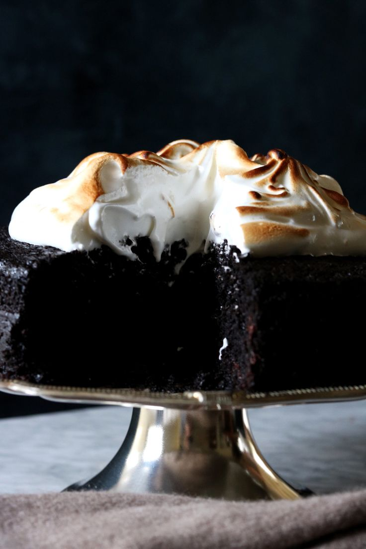 Chocolate Stout Cake  with Marshmallow Meringue