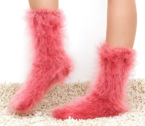 PASTEL-RED-CORAL-Hand-knitted-mohair-socks-Fuzzy-soft-leg-warmers-by-SUPERTANYA