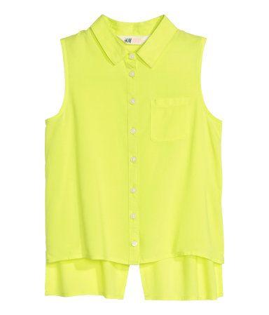 Mouwloze blouse | Neongeel | Kinderen | H&M NL