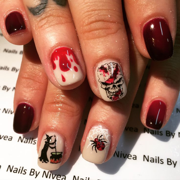 Halloween gel nail design by @nailsbynivea