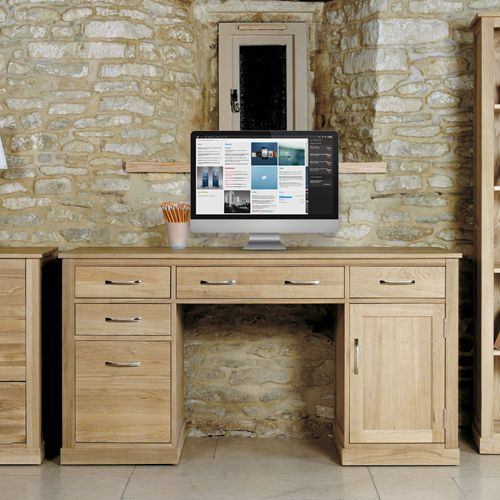 Mobel Oak Twin Pedestal Computer Desk #oak #furniture #home #decor #interior #inspiration #traditional #diningroom #livingroom #lounge #office #study #computer #desk #storage