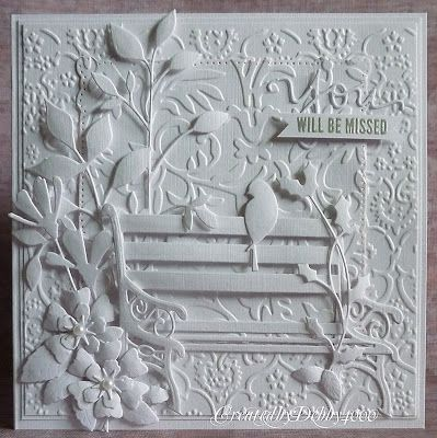 handmadey sympathyt card: White on White ... luv the layers of details on this card by debby4000 ... embossing folder texture... die cut flowers, birds  and leaves ... empty  white die cut bench ...