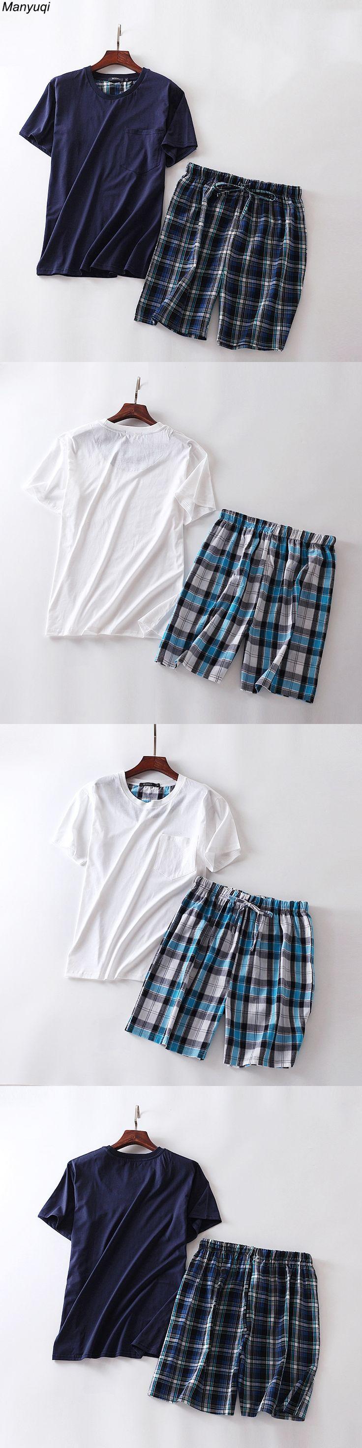 Cotton pajamas for men short sleeve and grid mid pants lounge&home sleepwear pajamas set man