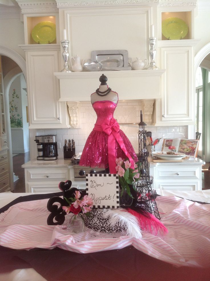Paris party centerpiece girlfriends birthday complete with french inspired menu wine - French themed table decorations ...