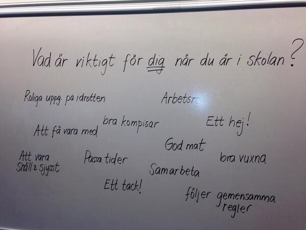 Värdeorden på tavlan när klassen var klar! #värdegrund #EQ #skolstart http://t.co/eow7LwkL8y