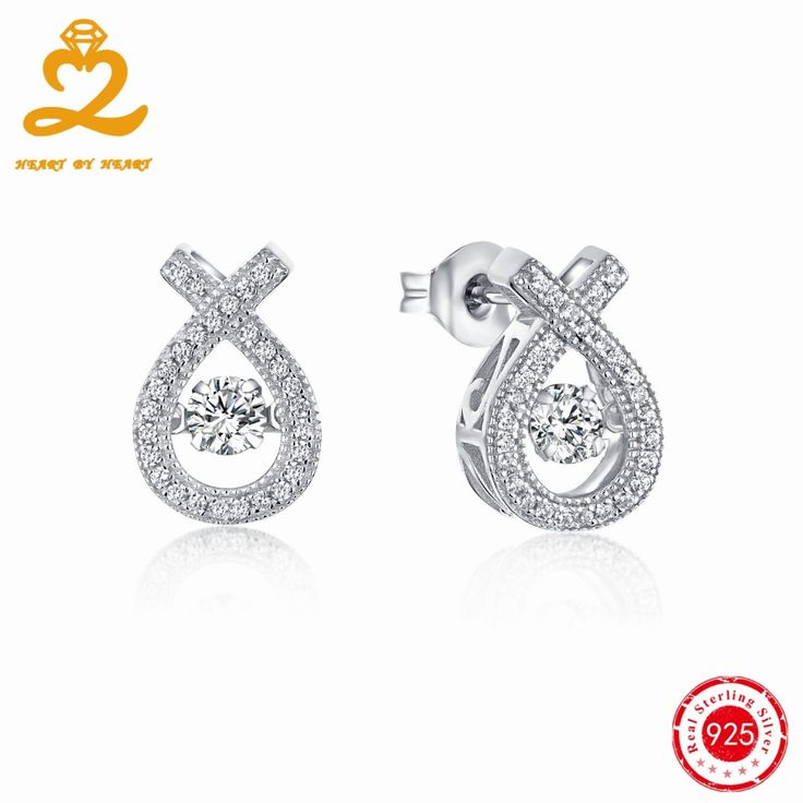 Crystal Earrings with Dancing Cublic Zirconia Stone White Gold Plated Silver Jewelry Water Drop Design Earrings for Women