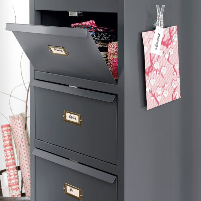 HIBA Metal Shutter Drawer Unit La Redoute Interieurs : price, reviews and rating, delivery.  Hiba Metal Shutter Drawer Unit. This unit with shutter drawers is perfect in a child's bedroom, an office or as an occasional piece of occasional furniture. Its shallow depth makes it perfect for any corner of the house. For the metallic grey version, the aged effect makes each wardrobe unique. Any irregularities accentuate the authentic look. 6 compartments with pull-down doors. Shutter opening…