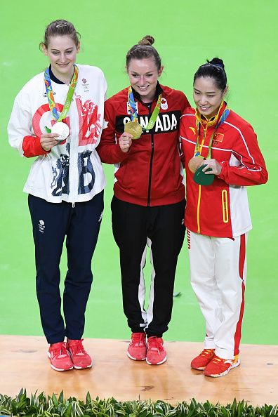 #RIO2016 Silver medallist Bryony Page of Britain gold medallist Rosannagh MacLennan of Canada and bronze medallist Li Dan of...