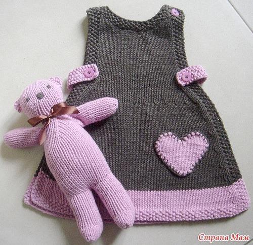 Связать спицами платье для малышки