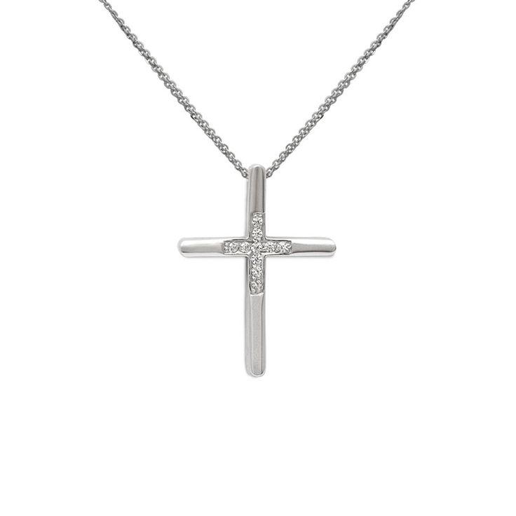 Μοντέρνος βαπτιστικός σταυρός με αλυσίδα για κορίτσι λευκόχρυσος Κ14 με σειρέ ζιργκόν και γυαλιστερό φινίρισμα | Βαπτιστικοί σταυροί ΤΣΑΛΔΑΡΗΣ στο Χαλάνδρι
