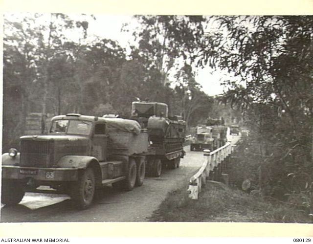 NERANG, QUEENSLAND. 1944-08-14. A CONVOY OF CHURCHILL V TANKS (AMONG THE FIRST LANDED IN AUSTRALIA ), IN MOVEMENT FROM BRISBANE ALONG THE PACIFIC HIGHWAY.