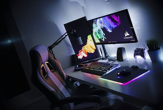 My Corsair RGB setup is now complete and I'm in love #corsair #corsairgaming #polaris #pcmr #pc #pcgaming #pcmasterrace #battlestation #gaming #gamer #custompc #pcbuild #instatech #desktop #workstation #tech #technology #setup #inspo #inspiration #mydesk