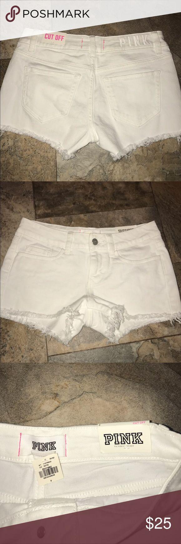 Victoria Secret pink white jean shorts NWT size 0 New with tags Victoria Secret pink white cut off jean shorts size 0. PINK Victoria's Secret Shorts Jean Shorts