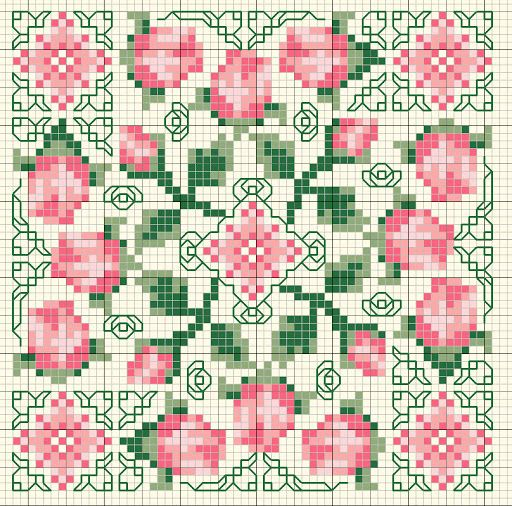 Cross-stitch Floral Biscornu ... no color chart available, just use pattern chart as your color guide.. or choose your own colors...   GRILLES GAZETTE94 - claire gazette - Picasa Web Albümleri