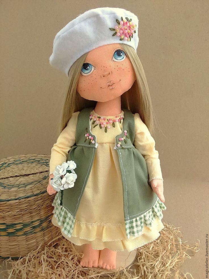 Купить Лизонька - желтый, зеленый, авторская кукла, текстильная кукла, кукла интерьерная, кукла в подарок