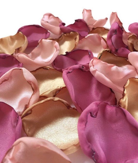 Blush pink, dusty rose pink and gold flower petals, blush rose & gold petals, blush and gold table decor, flowergirl petals, spring wedding