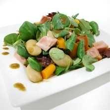 Kassler- och bönsallad med senapsdressing - Recept - Tasteline.com