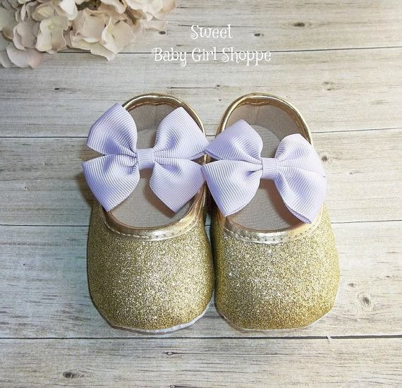 Lavender and Gold Baby Shoes  Lavender and by SweetBabyGirlShoppe